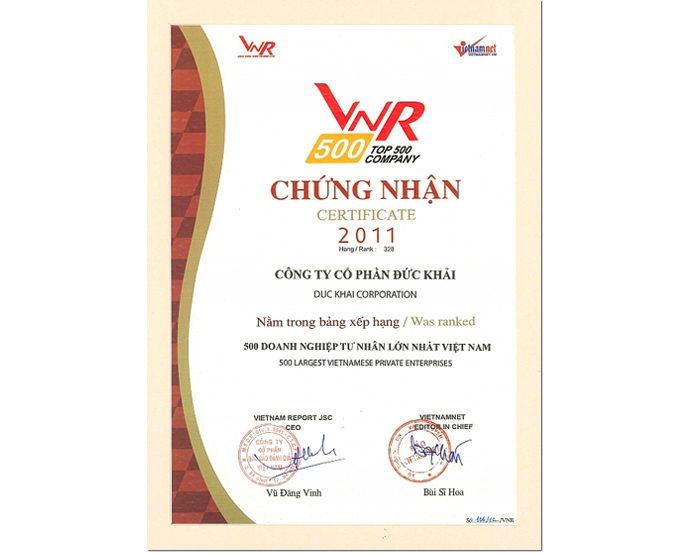 Duc Khai was announced in the Top 500 largest  enterprises in Vietnam 2011