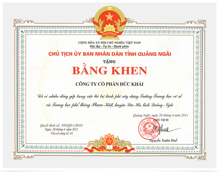 Contribution of funds to build schools in Quang Ngai province