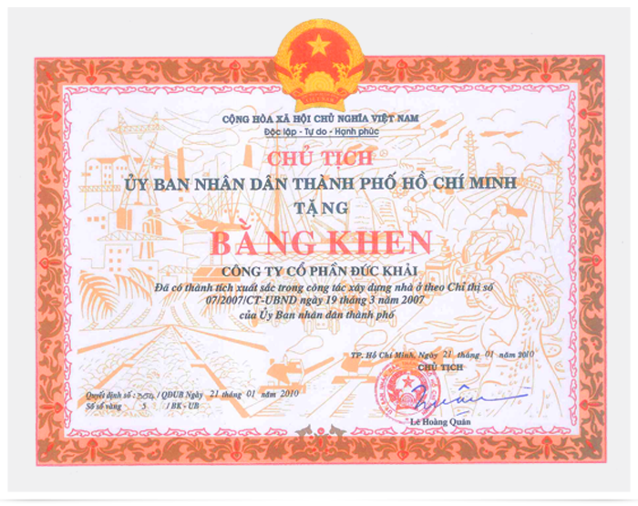 Duc Khai Corporation achieve excellence in the work of building houses on the instructions of 07/2007/CT-UBND