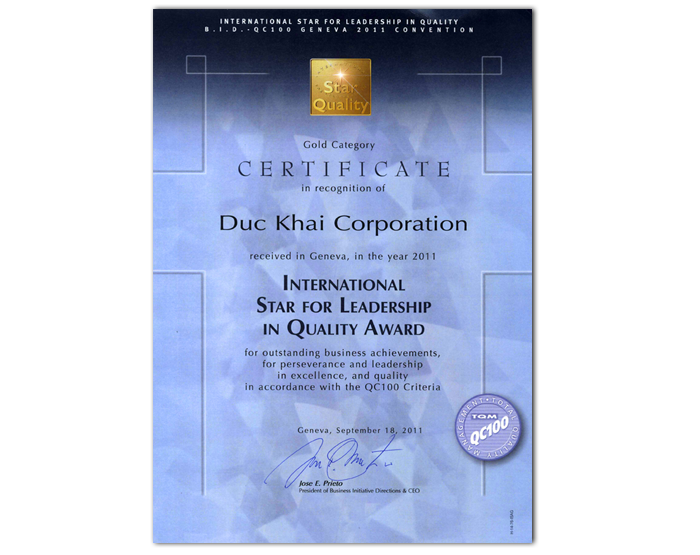 International Star for Leadership in Quality Award